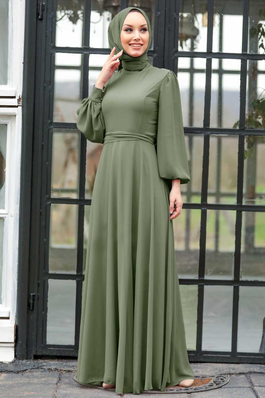 Tesettürlü Abiye Elbise - Balon Kol Haki Tesettür Abiye Elbise 5470HK