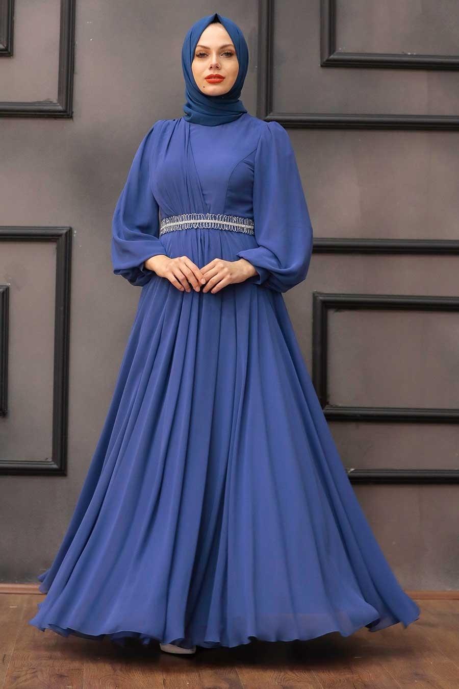 Tesettürlü Abiye Elbise - Balon Kol İndigo Mavisi Tesettür Abiye Elbise 22040IM