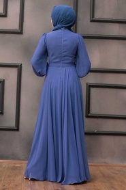 Tesettürlü Abiye Elbise - Balon Kol İndigo Mavisi Tesettür Abiye Elbise 22040IM - Thumbnail