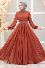 Tesettürlü Abiye Elbise - Balon Kol Kiremit Tesettür Abiye Elbise 22040KRMT - Thumbnail