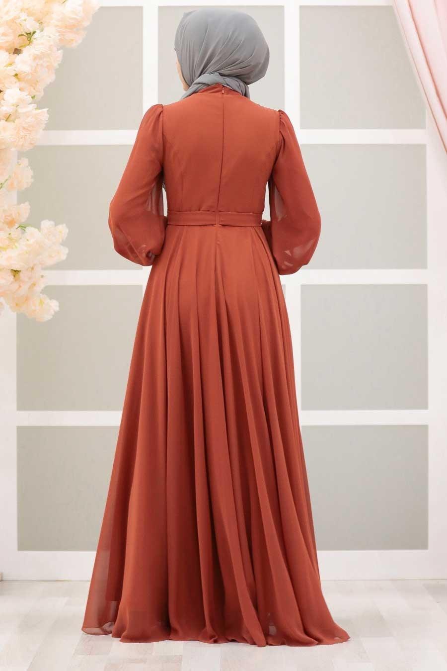 Tesettürlü Abiye Elbise - Balon Kol Kiremit Tesettür Abiye Elbise 22040KRMT