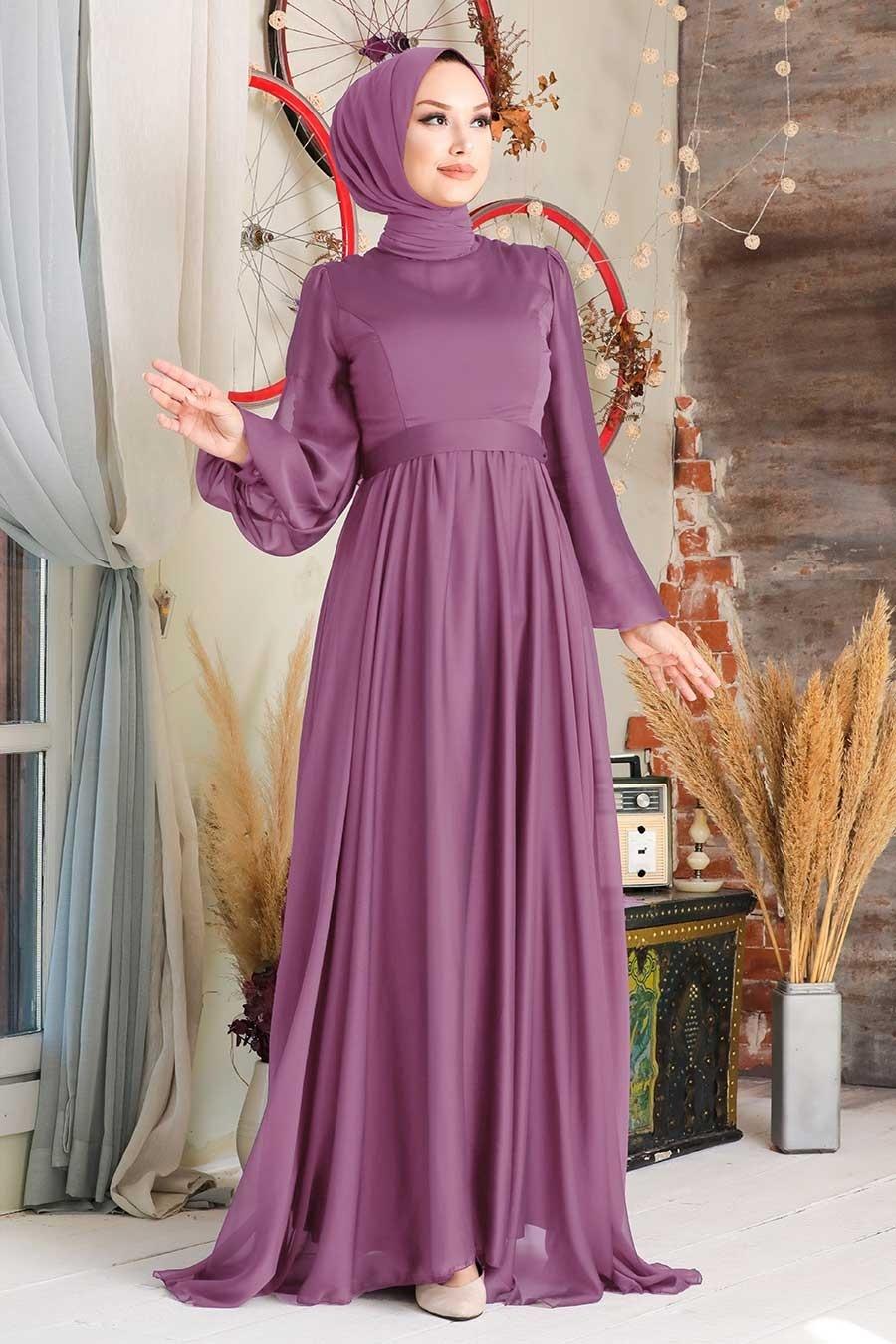 Tesettürlü Abiye Elbise - Balon Kol Koyu Gül Kurusu Tesettür Abiye Elbise 5215KGK