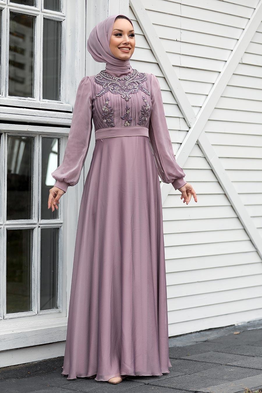 Tesettürlü Abiye Elbise - Balon Kol Lila Tesettür Abiye Elbise 2155LILA