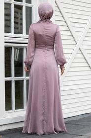Tesettürlü Abiye Elbise - Balon Kol Lila Tesettür Abiye Elbise 2155LILA - Thumbnail