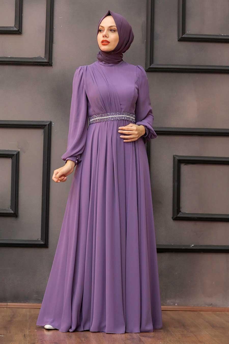 Tesettürlü Abiye Elbise - Balon Kol Lila Tesettür Abiye Elbise 22040LILA