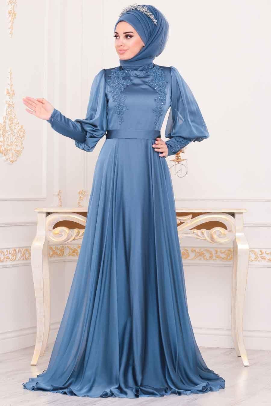 Tesettürlü Abiye Elbise - Balon Kol Mavi Tesettür Abiye Elbise 3927M