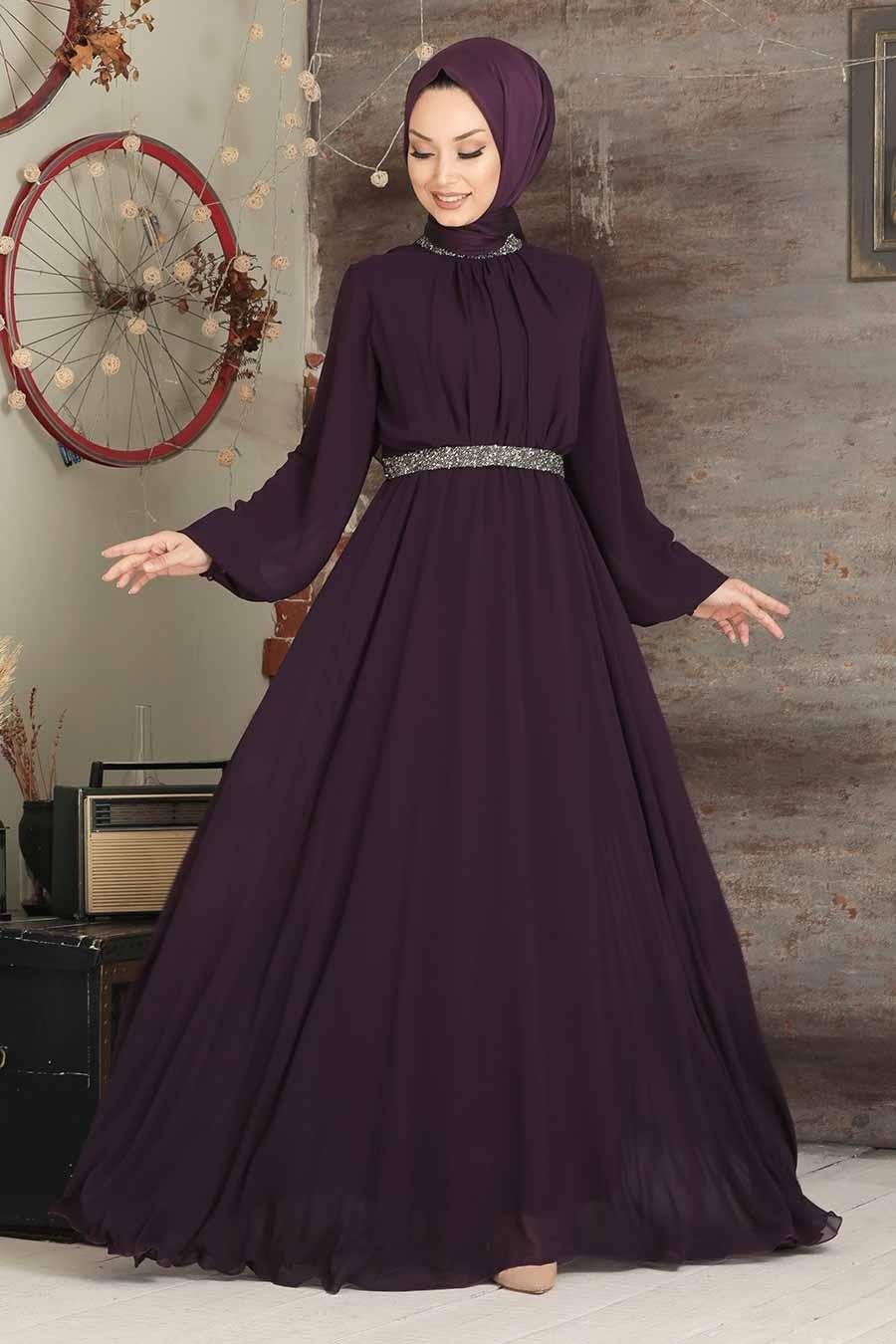 Tesettürlü Abiye Elbise - Balon Kol Mor Tesettür Abiye Elbise 5339MOR
