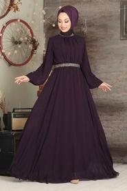 Tesettürlü Abiye Elbise - Balon Kol Mor Tesettür Abiye Elbise 5339MOR - Thumbnail