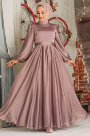 Tesettürlü Abiye Elbise - Balon Kol Vizon Tesettür Abiye Elbise 5215V - Thumbnail
