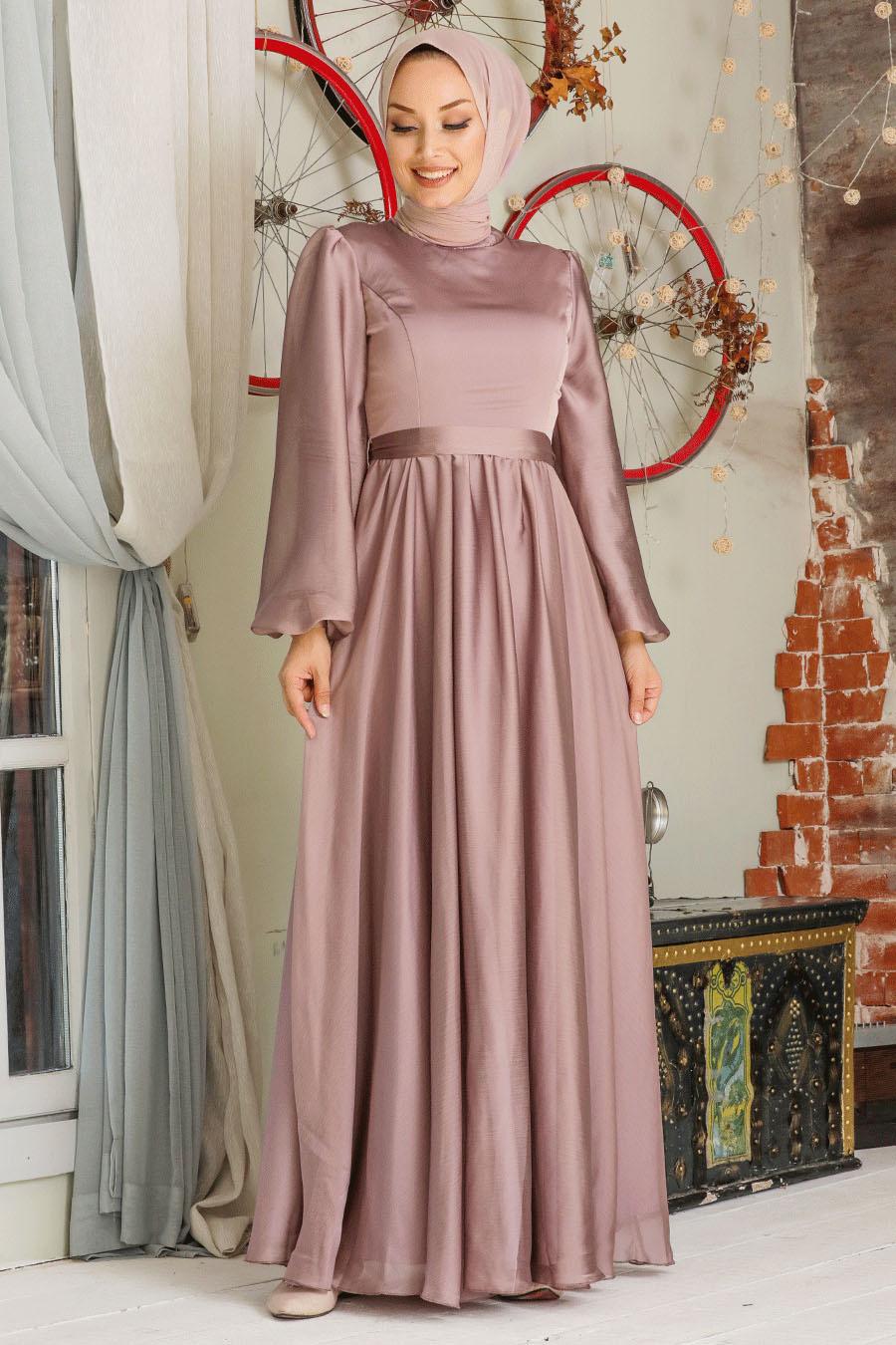 Tesettürlü Abiye Elbise - Balon Kol Vizon Tesettür Abiye Elbise 5215V