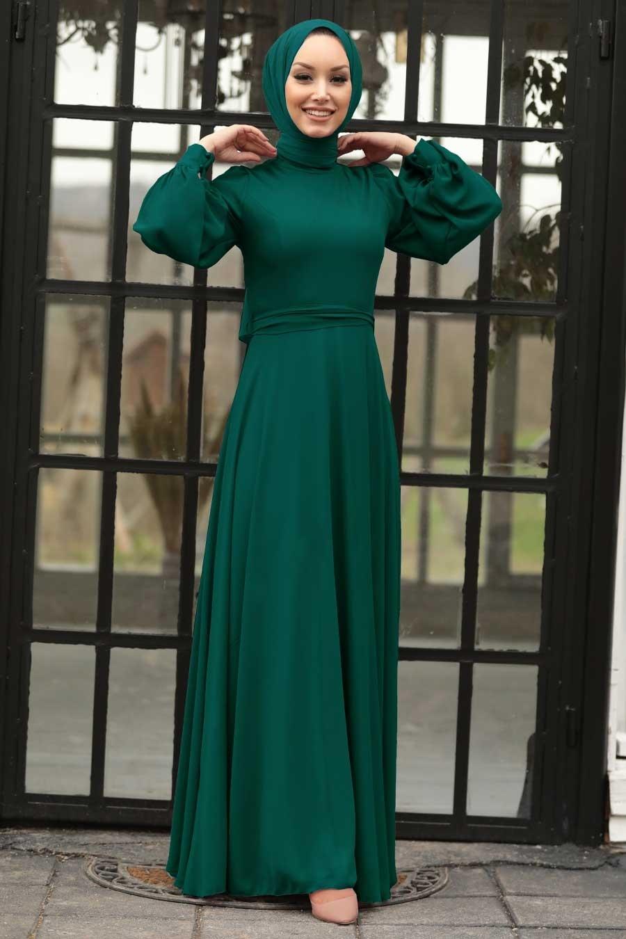Tesettürlü Abiye Elbise - Balon Kol Yeşil Tesettür Abiye Elbise 5470Y