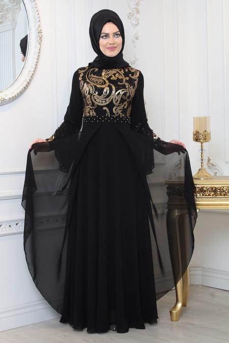 Tesettürlü Abiye Elbise - Beli Boncuk Detaylı Siyah Tesettür Abiye Elbise 7959S