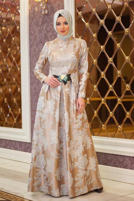 Tesettürlü Abiye Elbise - Beli Çiçek Detaylı Vizon Abiye Elbise