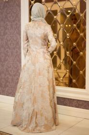 Tesettürlü Abiye Elbise - Beli Çiçek Detaylı Vizon Abiye Elbise - Thumbnail