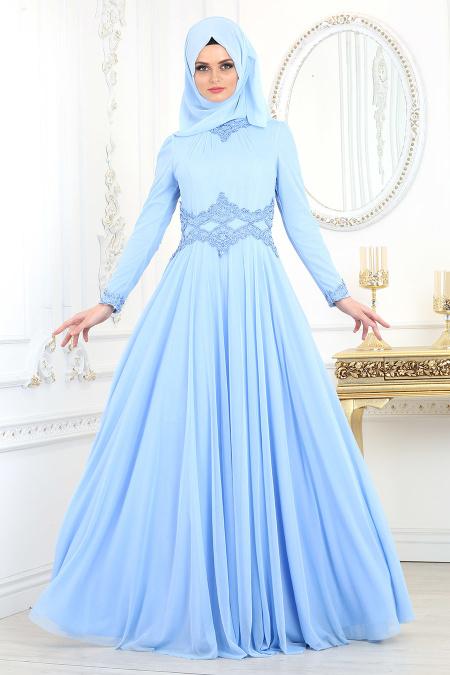 Tesettürlü Abiye Elbise - Beli Dantelli Bebek Mavisi Tesettür Abiye Elbise 20210BM