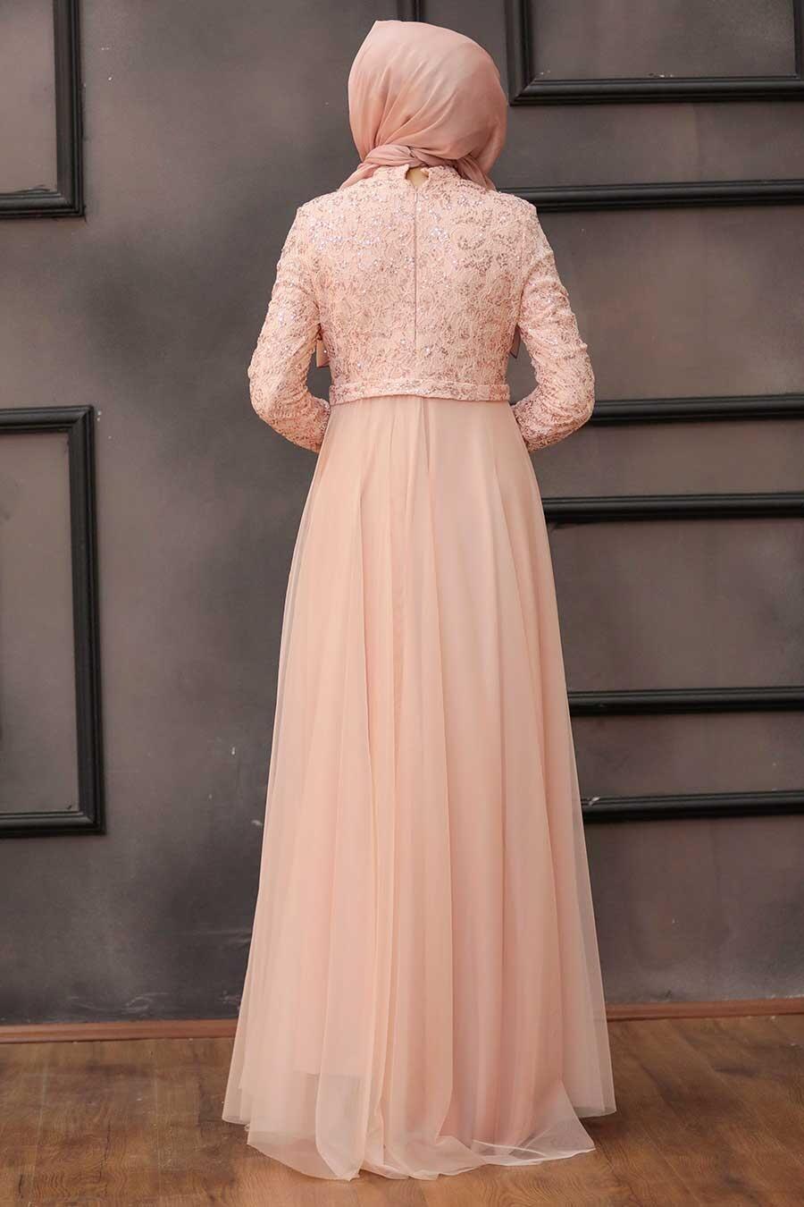 Tesettürlü Abiye Elbise - Beli Fiyonk Detaylı Pudra Tesettür Abiye Elbise 7829PD