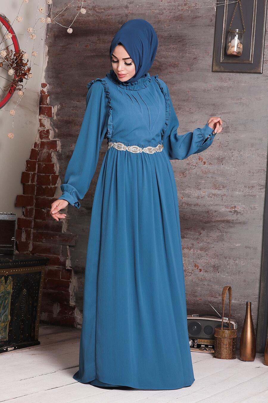 Tesettürlü Abiye Elbise - Beli Taşlı Petrol Mavisi Tesettür Abiye Elbise 37420PM