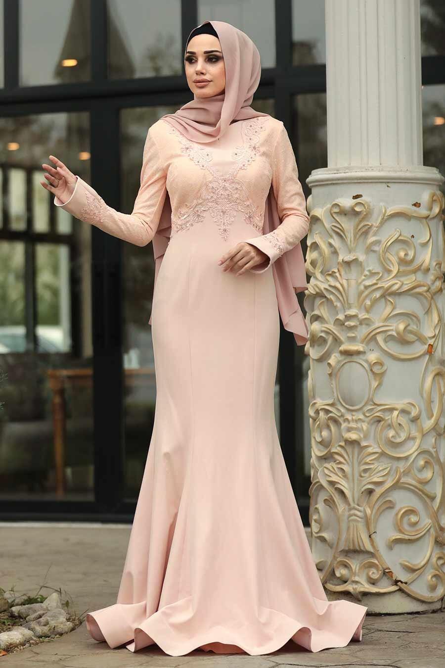 Tesettürlü Abiye Elbise - Boncuk Detaylı Dantelli Somon Tesettürlü Abiye Elbise 4568SMN
