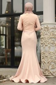 Tesettürlü Abiye Elbise - Boncuk Detaylı Dantelli Somon Tesettürlü Abiye Elbise 4568SMN - Thumbnail