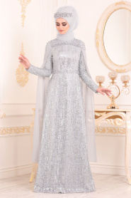 Tesettürlü Abiye Elbise -Boncuk Detaylı Gri Tesettür Abiye Elbise 20940GR - Thumbnail