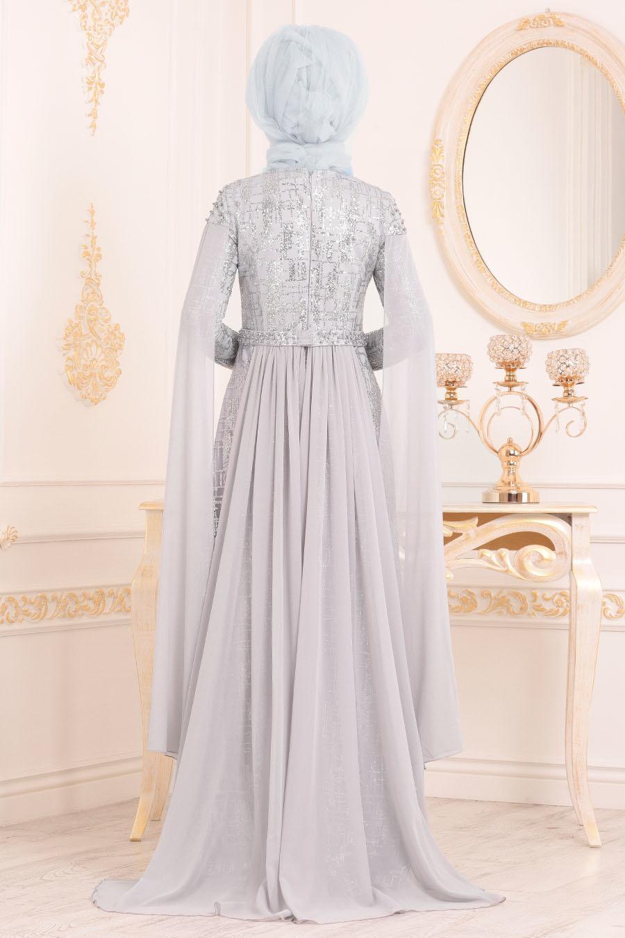 Tesettürlü Abiye Elbise -Boncuk Detaylı Gri Tesettür Abiye Elbise 20940GR