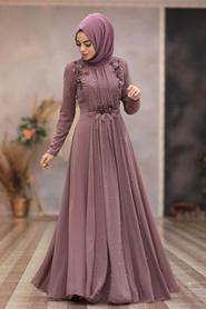 Tesettürlü Abiye Elbise - Boncuk Detaylı Gül Kurusu Tesettür Abiye Elbise 50030GK - Thumbnail