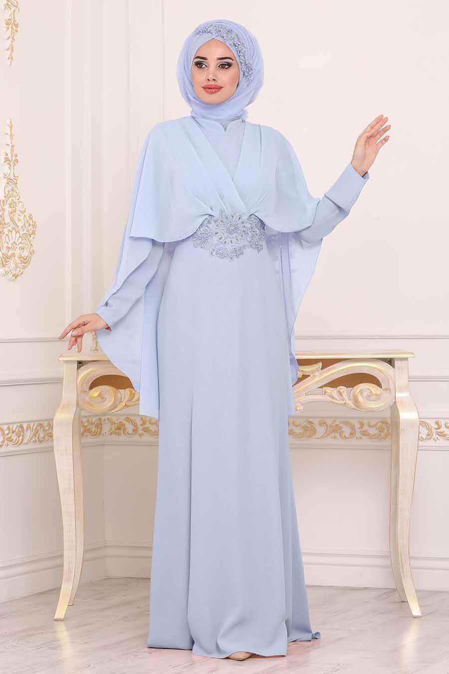 Tesettürlü Abiye Elbise - Dantel Detaylı Mavi Tesettür Abiye Elbise 39170M