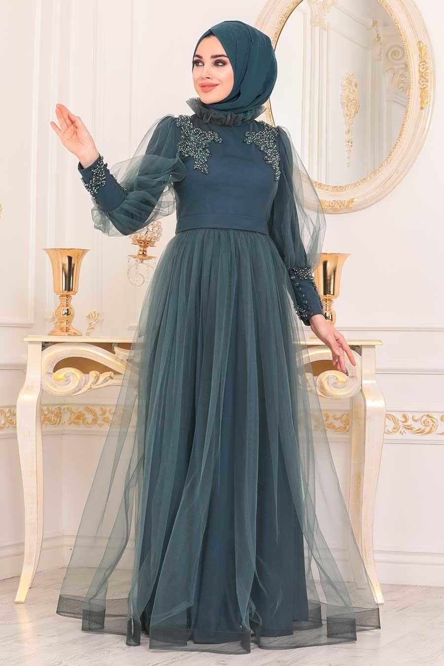 Tesettürlü Abiye Elbise - Boncuk Detaylı Petrol Yeşili Tesettür Abiye Elbise 40320PY