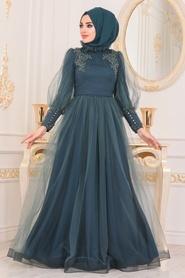 Tesettürlü Abiye Elbise - Boncuk Detaylı Petrol Yeşili Tesettür Abiye Elbise 40320PY - Thumbnail