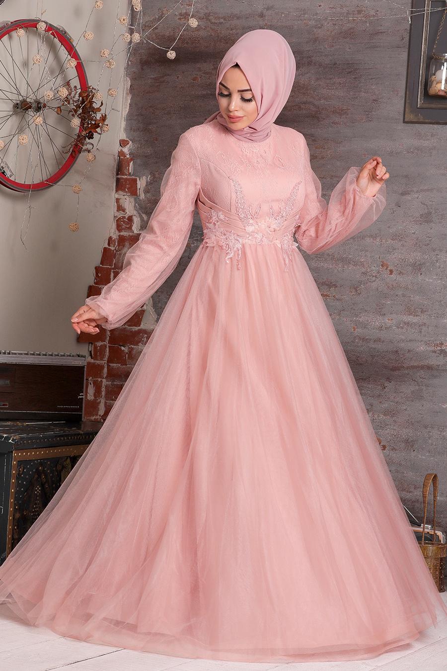 Tesettürlü Abiye Elbise - Boncuk Detaylı Pudra Tesettür Abiye Elbise 22670PD