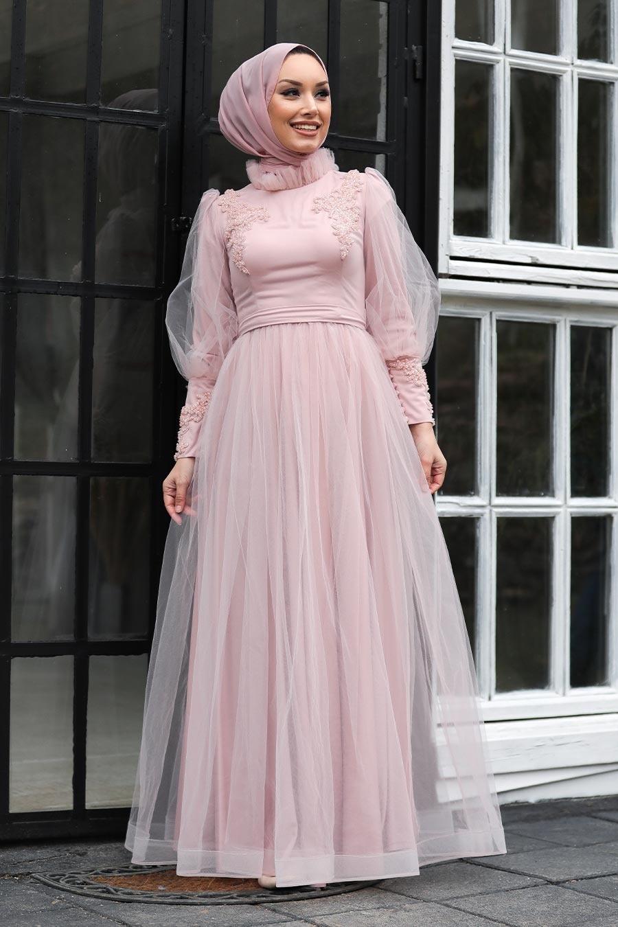 Tesettürlü Abiye Elbise - Boncuk Detaylı Pudra Tesettür Abiye Elbise 40320PD