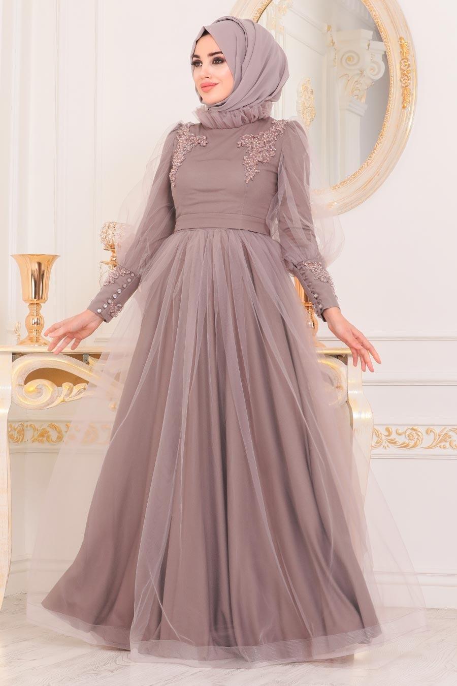 Tesettürlü Abiye Elbise - Boncuk Detaylı Vizon Tesettür Abiye Elbise 40320V