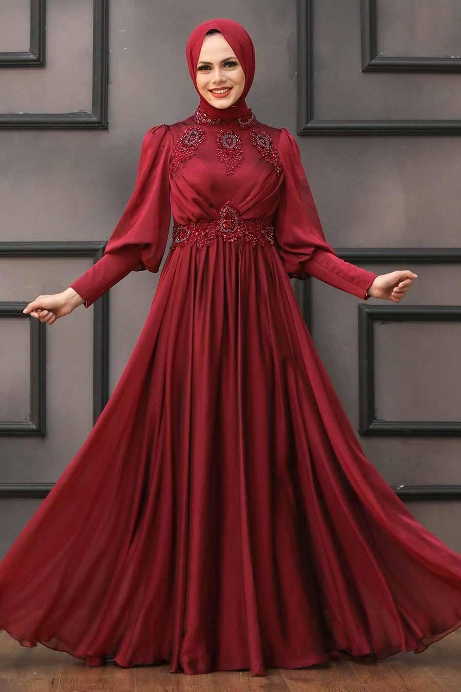 Tesettürlü Abiye Elbise - Boncuk İşlemeli Bordo Tesettür Abiye 22101BR