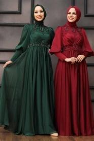 Tesettürlü Abiye Elbise - Boncuk İşlemeli Bordo Tesettür Abiye 22101BR - Thumbnail