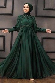 Tesettürlü Abiye Elbise - Boncuk İşlemeli Yeşil Tesettür Abiye 22101Y - Thumbnail