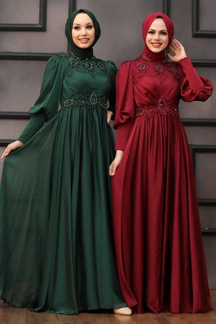 Tesettürlü Abiye Elbise - Boncuk İşlemeli Yeşil Tesettür Abiye 22101Y
