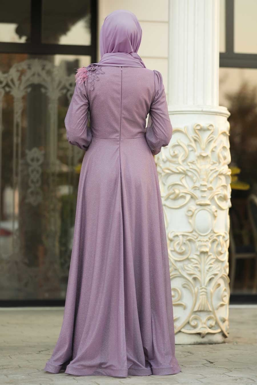 Tesettürlü Abiye Elbise - Çiçek Aplike Detaylı Lila Tesettür Abiye Elbise 21490LİLA