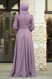 Tesettürlü Abiye Elbise - Çiçek Aplike Detaylı Lila Tesettür Abiye Elbise 21490LİLA - Thumbnail