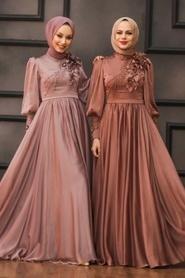 Tesettürlü Abiye Elbise - Çiçek Detaylı Bakır Tesettür Abiye Elbise 21960BKR - Thumbnail