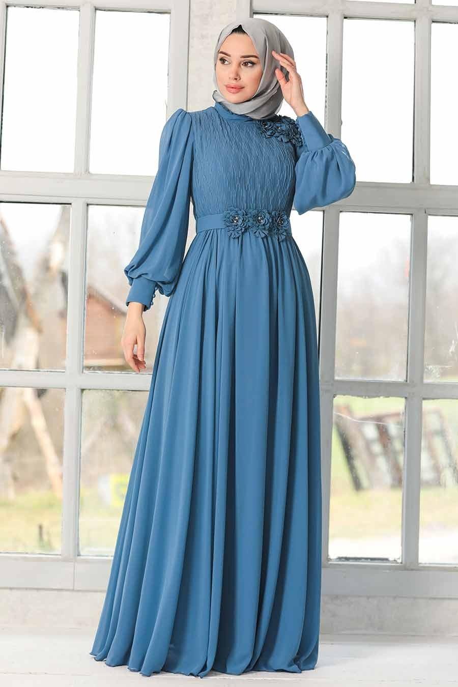 Tesettürlü Abiye Elbise - Çiçek Detaylı İndigo Mavisi Tesettür Abiye Elbise 21951IM