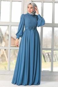 Tesettürlü Abiye Elbise - Çiçek Detaylı İndigo Mavisi Tesettür Abiye Elbise 21951IM - Thumbnail
