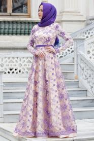 Tesettürlü Abiye Elbise - Çiçek Detaylı Mor Abiye Elbise - Thumbnail