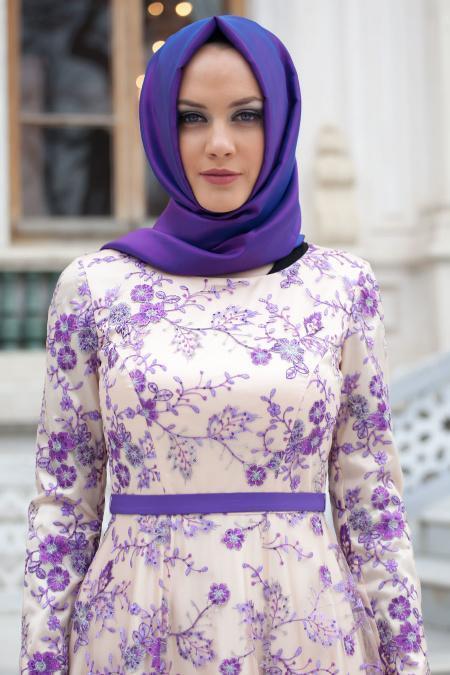 Tesettürlü Abiye Elbise - Çiçek Detaylı Mor Abiye Elbise