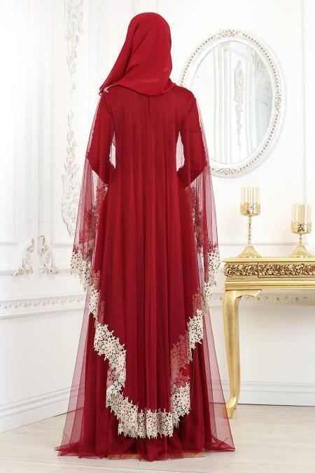 Tesettürlü Abiye Elbise - Dantel Detaylı Bordo Tesettür Abiye Elbise 2012BR