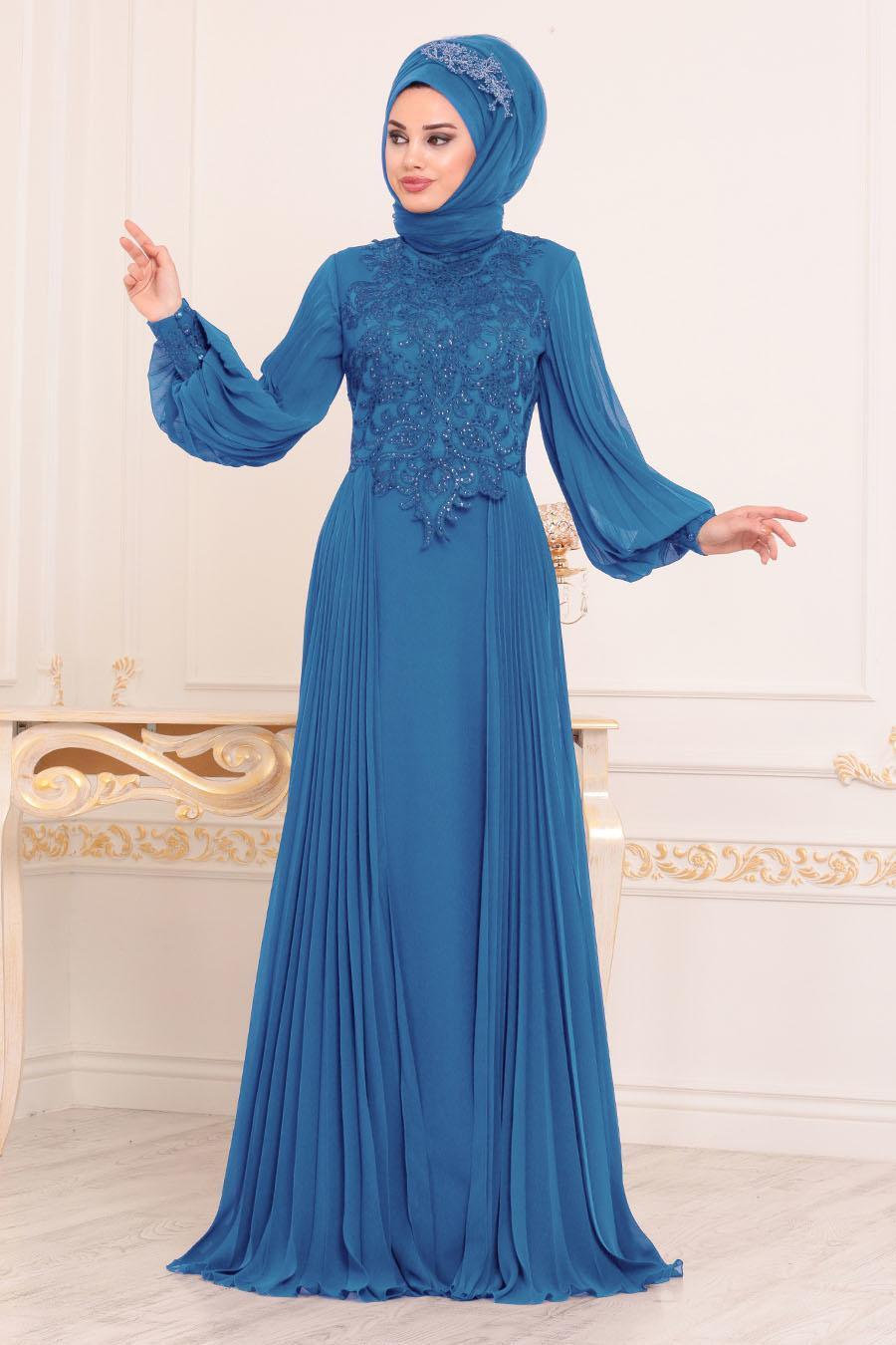 Tesettürlü Abiye Elbise - Dantel Detaylı İndigo Mavisi Tesettür Abiye Elbise 46220IM