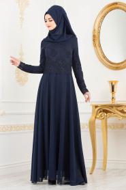 Tesettürlü Abiye Elbise - Dantel Detaylı Lacivert Tesettür Abiye Elbise 8238L - Thumbnail
