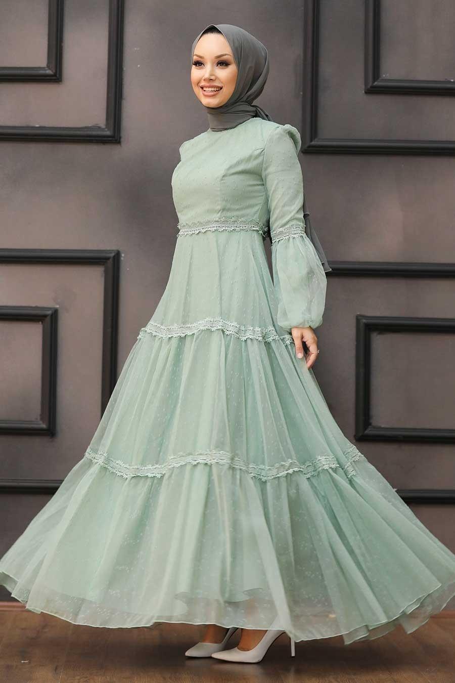Tesettürlü Abiye Elbise - Dantel Detaylı Mint Tesettür Abiye Elbise 2335MINT