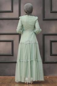 Tesettürlü Abiye Elbise - Dantel Detaylı Mint Tesettür Abiye Elbise 2335MINT - Thumbnail