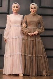 Tesettürlü Abiye Elbise - Dantel Detaylı Pudra Tesettür Abiye Elbise 2335PD - Thumbnail