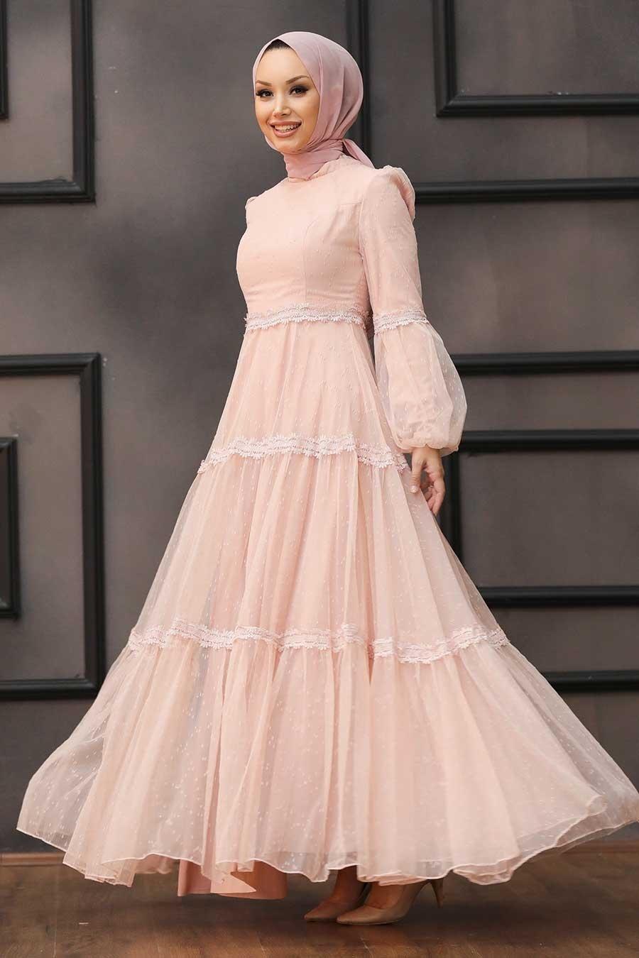 Tesettürlü Abiye Elbise - Dantel Detaylı Pudra Tesettür Abiye Elbise 2335PD